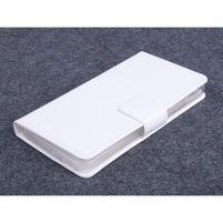 Bílé kožené peňaženkové puzdro na Huawei Ascend G620s