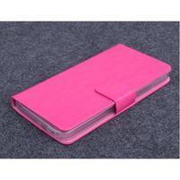 Růžové kožené peňaženkové puzdro na Huawei Ascend G620s