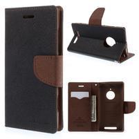 Kožené peňaženkové puzdro na Nokia Lumia 830 - čierné/hnedé