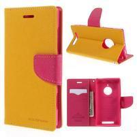 Kožené peňaženkové puzdro na Nokia Lumia 830 - žlté