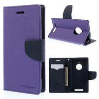 Kožené peňaženkové puzdro na Nokia Lumia 830 - fialové