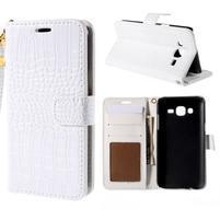 PU kožené puzdro s imitací krokodýlí kože Samsung Galaxy J5 - biele