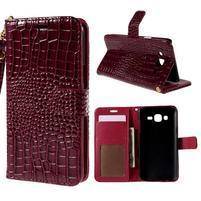 PU kožené pouzdro s imitací krokodýlí kůže Samsung Galaxy J5 - tmavě červené