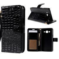 PU kožené puzdro s imitací krokodýlí kože Samsung Galaxy J5 - čierne