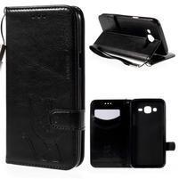 Peňaženkové puzdro s kočičkou Domi pre Samsung Galaxy J5 - čierne