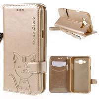 Peňaženkové puzdro s kočičkou Domi pre Samsung Galaxy J5 - champagne