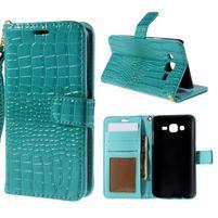 PU kožené pouzdro s imitací krokodýlí kůže Samsung Galaxy J5 - tyrkysové