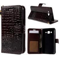 PU kožené pouzdro s imitací krokodýlí kůže Samsung Galaxy J5 - tmavě hnědé
