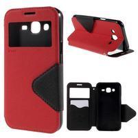 PU kožené puzdro s okienkom pro Samsung Galaxy J5 - červené