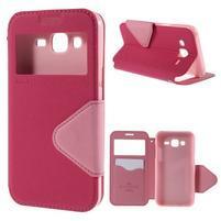 PU kožené puzdro s okienkom pro Samsung Galaxy J5 - rose