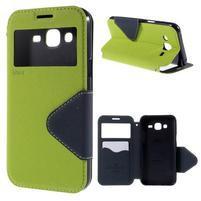 PU kožené puzdro s okienkom pro Samsung Galaxy J5 - zelené