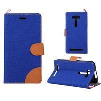 Jeans puzdro pre mobil Asus Zenfone 2 Laser - tmavomodré