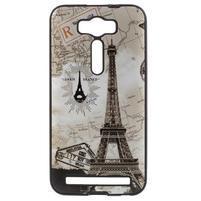 Gélový obal s koženkovým chrbtom na Asus Zenfone 2 Laser - Eiffelova veža