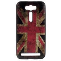 Gélový obal s koženkovým chrbtom pre Asus Zenfone 2 Laser - UK vlajka