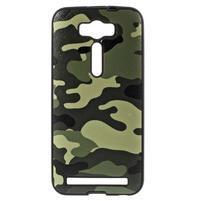 Gélový obal s koženkovým chrbtom na Asus Zenfone 2 Laser - army