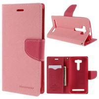 Diary štýlové puzdro na Asus Zenfone 2 Laser - ružové