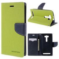 Diary štýlové puzdro pre Asus Zenfone 2 Laser - zelené