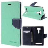 Diary štýlové puzdro pre Asus Zenfone 2 Laser - azúrové