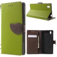 Supreme peňaženkové puzdro pre Lenovo P70 - zelené/hnedé