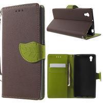 Supreme peňaženkové puzdro pre Lenovo P70 - hnedé/zelené
