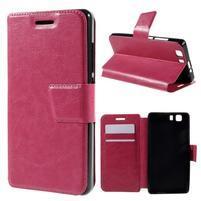 Peňaženkové PU kožené puzdro pre mobil Doogee X5 - rose