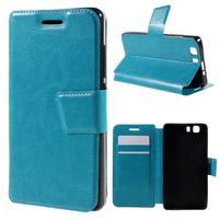 Peňaženkové PU kožené puzdro pre mobil Doogee X5 - modré