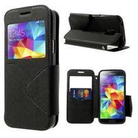 Pěněženkové pouzdro s okýnkem pro Samsung Galaxy S5 mini -  černé