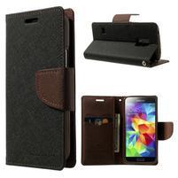 Diary PU kožené puzdro pre Samsung Galaxy S5 mini - čierne/hnedé