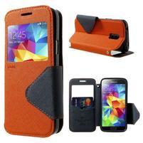 Peňaženkové puzdro s okienkom pro Samsung Galaxy S5 mini -  oranžové