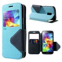 Peňaženkové puzdro s okienkom pro Samsung Galaxy S5 mini -  svetlomodré