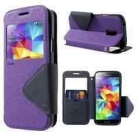 Pěněženkové pouzdro s okýnkem pro Samsung Galaxy S5 mini -  fialové
