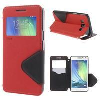 Stylové puzdro s okýnkem na Samsung Galaxy A5 - červené