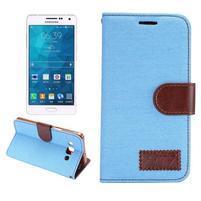 Jeans peňaženkové puzdro na Samsung Galaxy A5 - svetlo modré