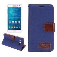 Jeans peňaženkové puzdro na Samsung Galaxy note 3 - tmavo modré