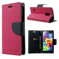 Diary PU kožené pouzdro na Samsung Galaxy S5 mini - rose