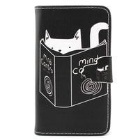 Fun peňaženkové puzdro pre Samsung Galaxy S3 mini - mačička čte
