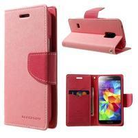 Diary PU kožené puzdro pre Samsung Galaxy S5 mini - ružové