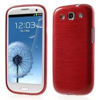 Brush gélový kryt na Samsung Galaxy S III / Galaxy S3 - červený
