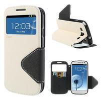 Peňaženkové puzdro s okýnkem pre Samsung Galaxy S3 / S III - biele