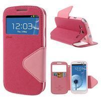 Peňaženkové puzdro s okienkom pre Samsung Galaxy S3 / S III - rose