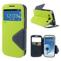Peňaženkové puzdro s okienkom pre Samsung Galaxy S3 / S III - zelené