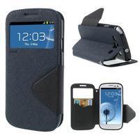 Peňaženkové puzdro s okýnkem pre Samsung Galaxy S3 / S III - tmavo modré