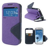 Peňaženkové puzdro s okýnkem pre Samsung Galaxy S3 / S III - fialové
