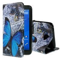 Koženkové pouzdro na mobil Sony Xperia E4 - modrý motýl