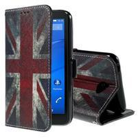 Koženkové pouzdro na mobil Sony Xperia E4 - UK vlajka