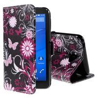 Koženkové puzdro pre mobil Sony Xperia E4 - motýľe