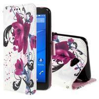 Koženkové puzdro pre mobil Sony Xperia E4 - kvety