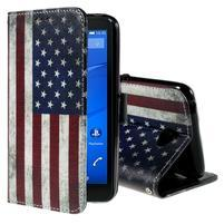 Koženkové puzdro pre mobil Sony Xperia E4 - US vlajka
