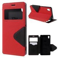 Peňaženkové puzdro s okienkom pre Sony Xperia M4 Aqua - červené