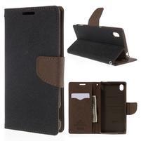 Ochranné puzdro pre Sony Xperia M4 Aqua - čierne/hnedé